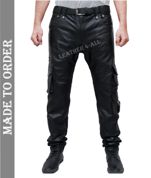 Men's Real Cowhide Leather Bikers Cargo Pants Bikers Pants With Cargo Pockets