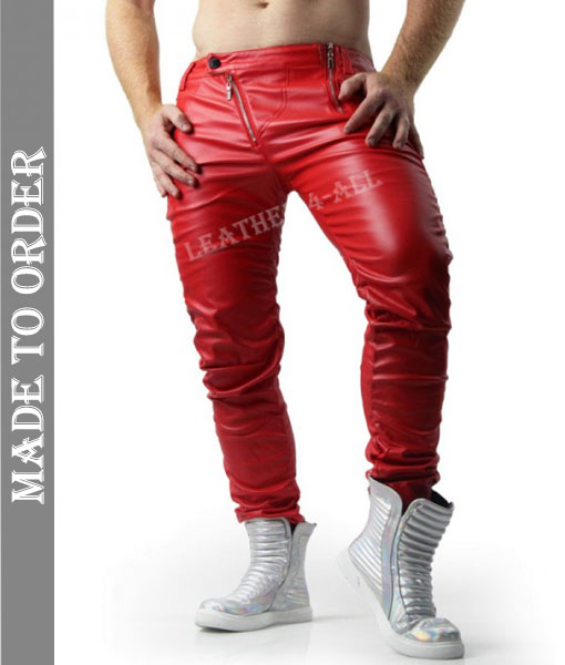 Men's Real Cowhide Natural Grains Leather Bikers Pants In Red New Unique Style Fashion Pants