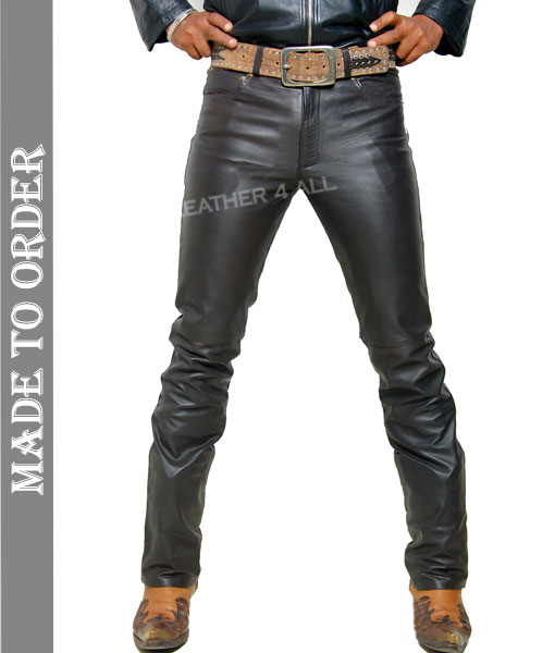 Men's Real Leather Bikers 5 Pockets Levi's Style Bikers Pants Leather 501 Jeans