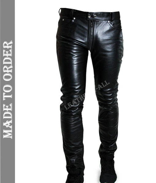Men's Real Leather Pants Double Slider Zip Leather Pants Front And Back Zips
