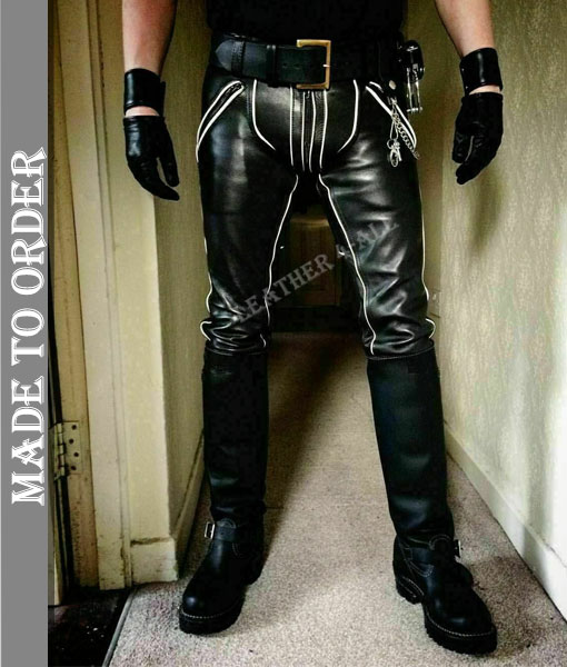 Men's Real Leather Pants Bikers Pants With Color Piping Bikers Pants BLUF Pants