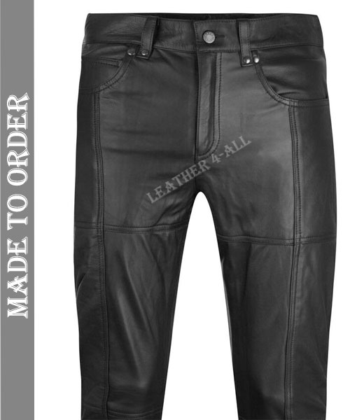 Men's Real Cowhide Soft Leather Bikers 4 Pockets Levi's Style Bikers Pants Leather 504 Jeans