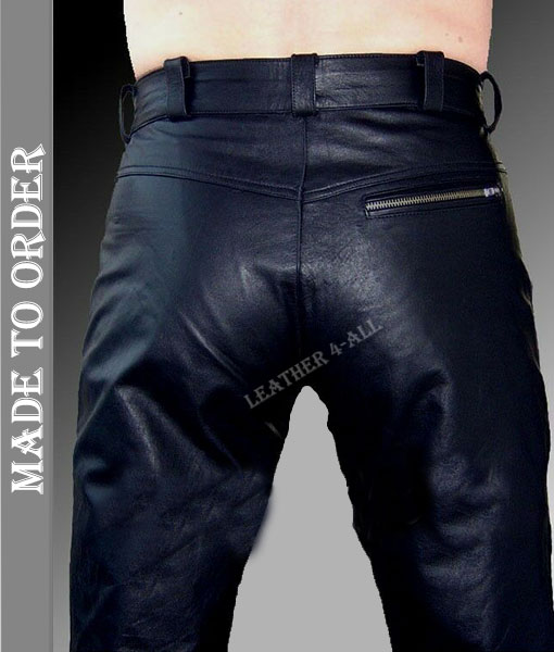 Men's Real Cow Leather Slim Fit Leather Casual Pants BLUF Gay Leather Pants