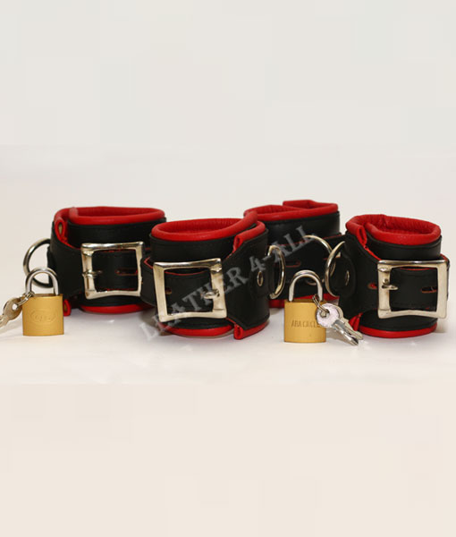 REAL LEATHER 4 PIECES HEAVY DUTY PADDED BONDAGE RESTRAINT SET WITH FREE PADLOCKS In Red Color