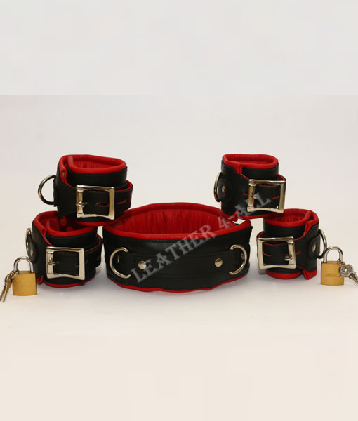 REAL LEATHER 5 PIECES HEAVY DUTY PADDED BONDAGE RESTRAINT SET WITH FREE PADLOCKS In Red Color