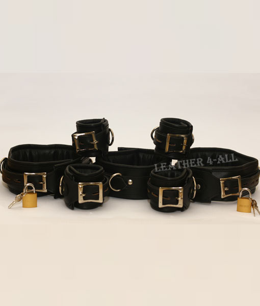 REAL LEATHER 7 PIECES HEAVY DUTY PADDED BONDAGE RESTRAINT SET + FREE 7 PADLOCKS in Black Color