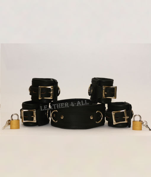 REAL LEATHER 5 PIECES HEAVY DUTY PADDED BONDAGE RESTRAINT SET WITH FREE PADLOCKS in Black Color
