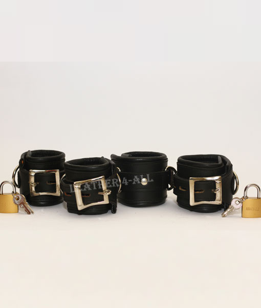 REAL LEATHER 4 PIECES HEAVY DUTY PADDED BONDAGE RESTRAINT SET WITH FREE PADLOCKS in Black Color