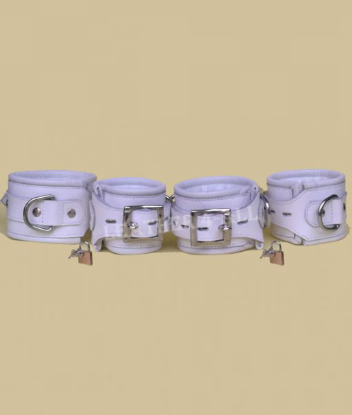 REAL LEATHER 4 PIECES HEAVY DUTY WHITE PADDED BONDAGE RESTRAINT SET WITH FREE PADLOCKS in White Color
