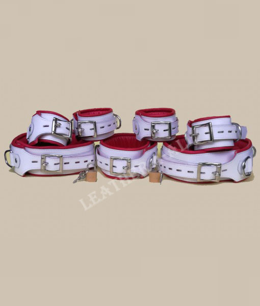GENUINE LEATHER 7 PIECES HEAVY DUTY PADDED BONDAGE RESTRAINT SET FREE 7 PADLOCKS in Red and White Color
