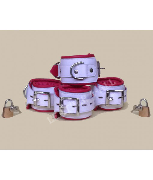 REAL LEATHER 4 PIECES HEAVY DUTY WHITE PADDED BONDAGE RESTRAINT SET WITH FREE PADLOCKS in Red & White