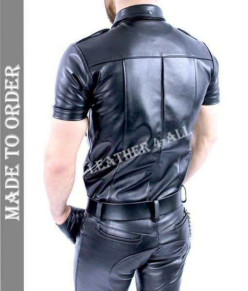 Men's Genuine Leather Police Uniform Sexy Short Sleeves Leather Shirt
