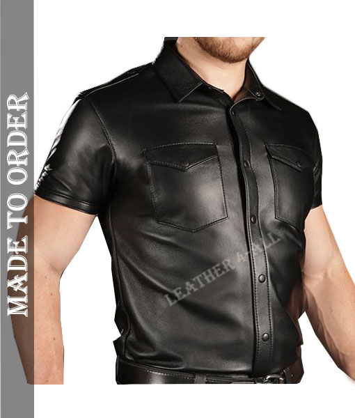 Men's Real Cowhide Natural Grains Leather Police Uniform Short Sleeves Shirt