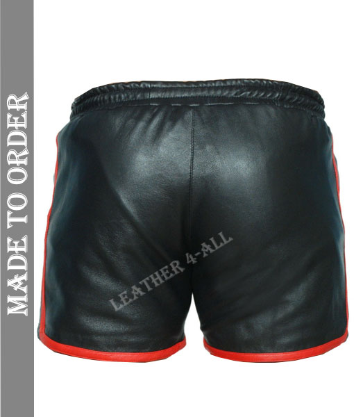 Men's Genuine Lamb Leather Gym Sports Shorts With Red Stripes