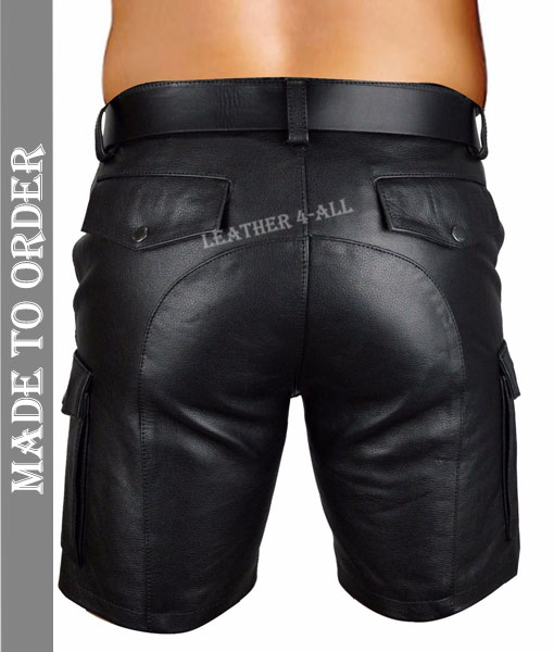 Men's Real Leather Cargo Pockets Shorts Club Wear Shorts + Free Leather Belt