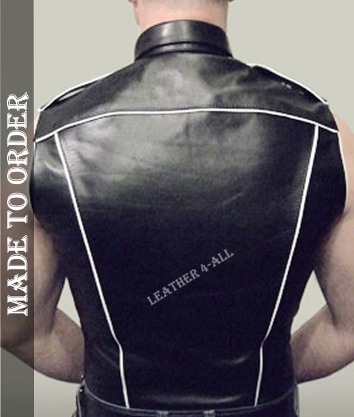 Men's Sleeves Less Leather Shirt Made of High-Quality Sheep Leather with WHITE Piping