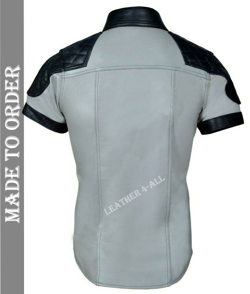 Men's Real Leather Police Uniform Shirt Sexy Short Sleeve White Leather Shirt with Quilted Shoulder Panels