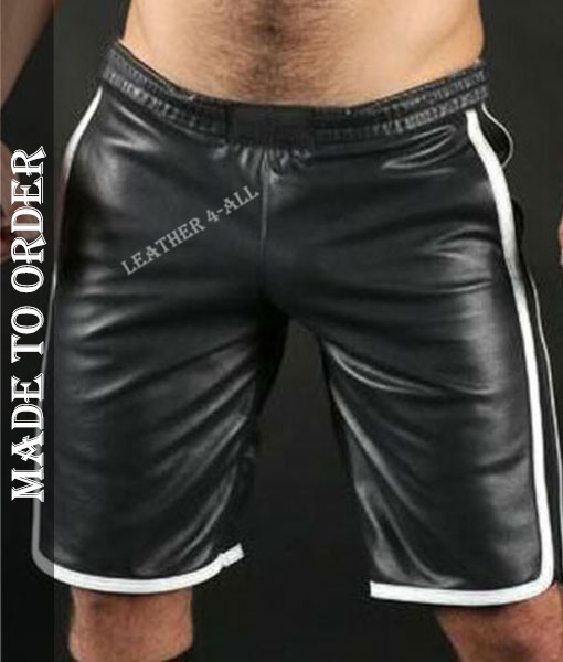 Men's Real Lamb Leather Basketball Shorts Available In 3 Colours Stripes
