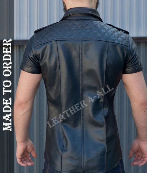 Men's Genuine Cowhide Natural Grain Leather Police Uniform Sexy Short Sleeves Padded Leather Shirt