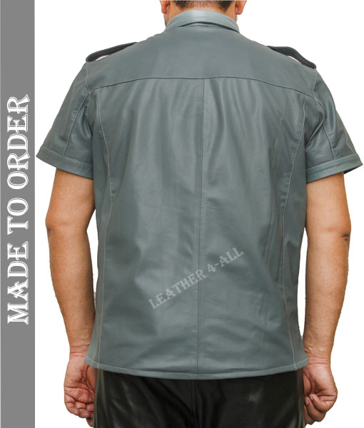 Men's Real Leather Police Uniform Shirt Sexy Short Sleeve Gray Leather Shirt