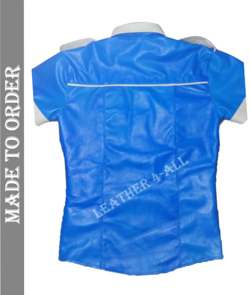 Men's Short Sleeves Leather Shirt Made Of High-Quality Sheep Leather Blue Shirt With White Contrast
