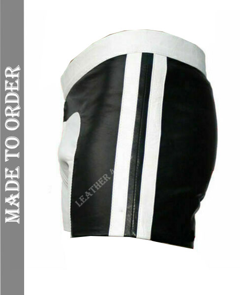 Men's Real Lamb Leather Gym Shorts Leather Sports Shorts with Side Stripes