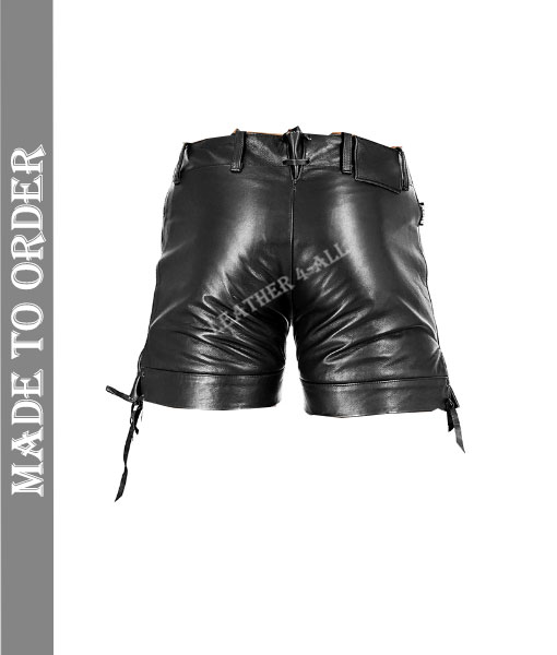 Men's Real Cowhide Natural Grain Leather BLUF Gay Carpenter Leather Shorts