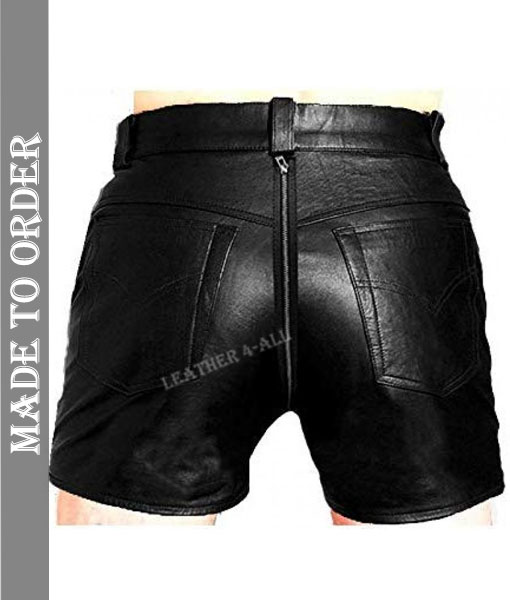 Men's Real Cowhide Natural Grain Leather Carpenter Shorts