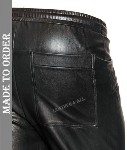 Men's Real Cow Leather Long Shorts with Zipped Pockets