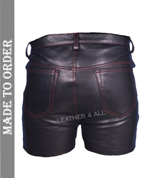 Men's Genuine Leather Shorts Club Wear Shorts stitched with Red Thread
