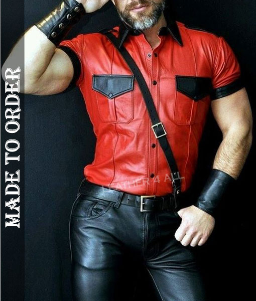 Men's Real Leather Police Uniform Shirt Sexy Short Sleeve Red Leather Shirt