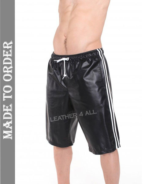 Men's Real Lamb Leather Long Shorts Basket Ball Shorts with Side Stripes
