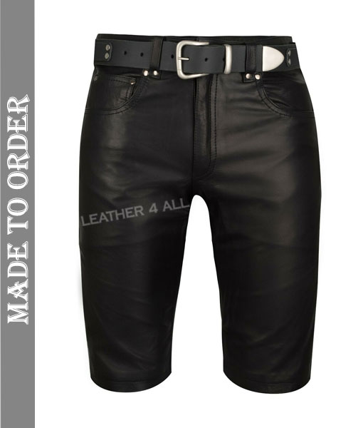 Men's Genuine Cowhide Natural Grain Soft Club Wear Slim Fit Leather Shorts