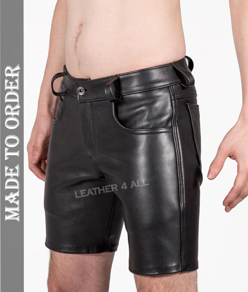 Men's Genuine Cowhide Natural Grain Soft Club Wear Leather Shorts