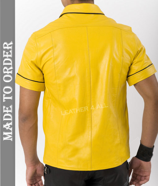 Men's Real Cowhide Thin And Soft Short Sleeves Yellow Leather Shirt With Black Piping + Free Wrist Band