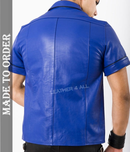 Men's Real Cowhide Thin And Soft Short Sleeves Blue Leather Shirt With Black Piping + Free Wrist Band