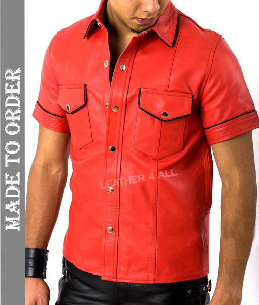 Men's Real Cowhide Thin And Soft Short Sleeves Red Leather Shirt With Black Piping + Free Wrist Band