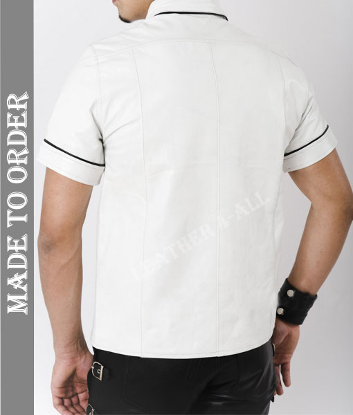 Men's Real Cowhide Thin And Soft Short Sleeves White Leather Shirt With Black Piping + Free Wrist Band