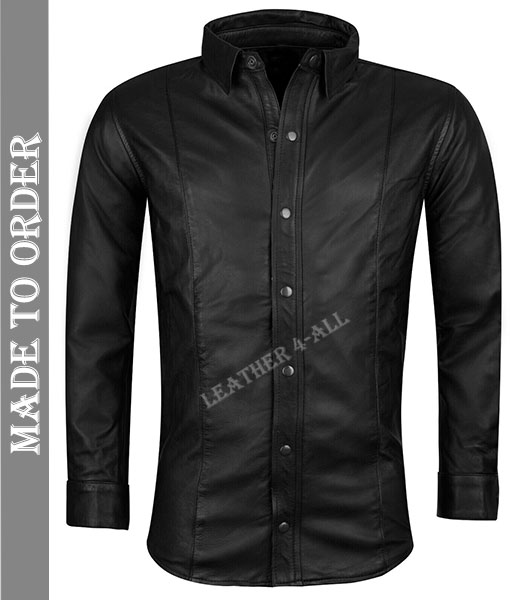 Men's Real Cow Leather Long Sleeves BLUF Shirt with Stud Buttons Closure