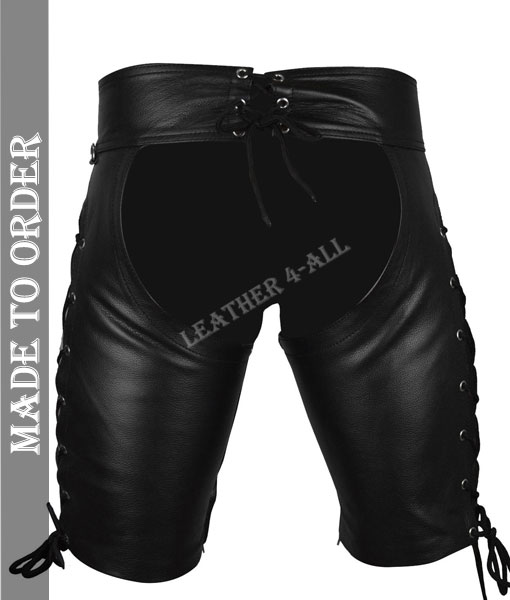 Men's Real Leather Laced Chaps Shorts / Chaps / Club Wear Chaps Shorts