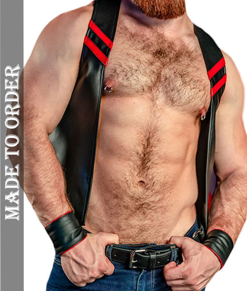 Men's Real Soft Quality Leather Motor Bikers Vest with Chest Stripes in Different Colors + Free Wrist Bands