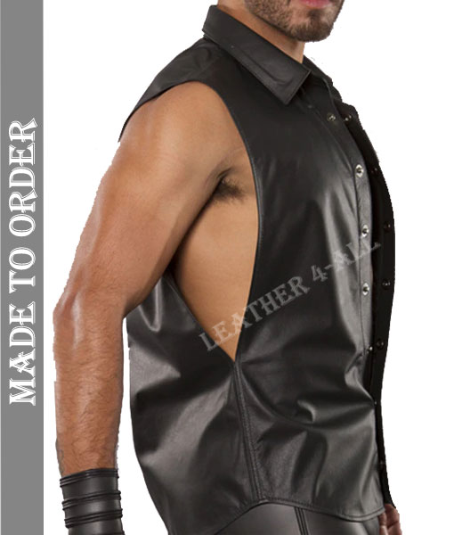 Men's Real Lamb Skin Sleeves Less Leather Shirt Made Of High-Quality Sheep Leather