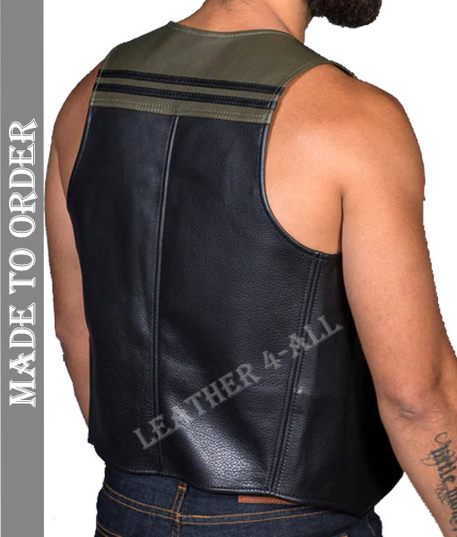 Men's Real Soft Quality Leather Motor Bikers Vest with Contrast Panels