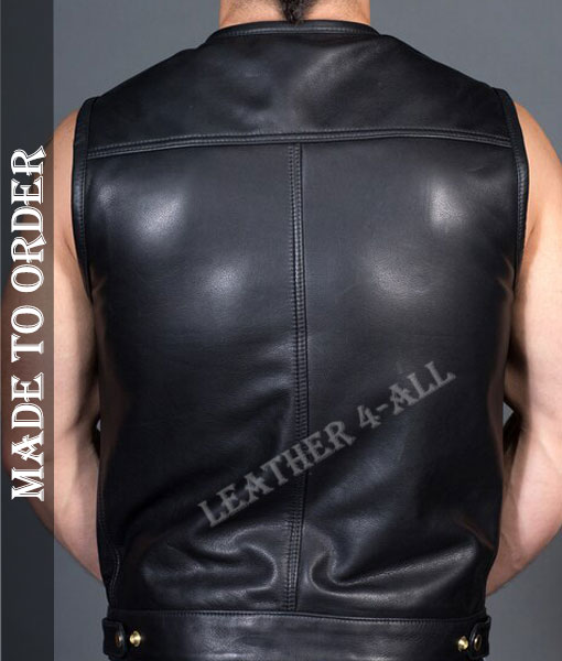 Men's Genuine Natural Grain Cowhide Leather Motor Bikers Leather Shirt / Vest Round Neck and Sleeveless