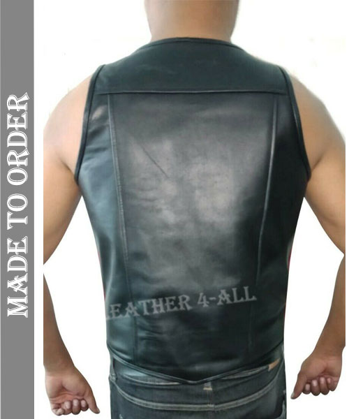 Men's Real Cowhide Leather Bikers Vest with Red Stripes on Sides