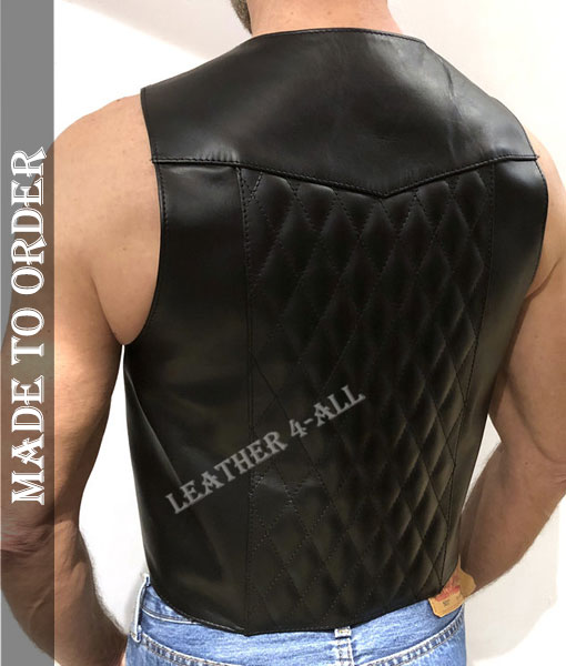 Men's Cowhide Black Leather Vest Quilted Back Panels Biker's Vest