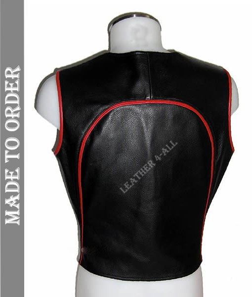 Men's Real Cow Natural Grain Leather Contrast Piping Bikers Vest
