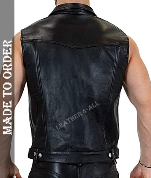 Men's Genuine Cowhide Natural Grain Soft Leather Biker's Vest Sleeveless Biker Jacket