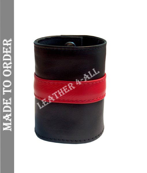 BDSM Leather Handcuffs Single Stripe Master Slave Contrast Stripes In Different Colors