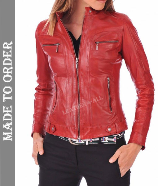 Women's Genuine Lamb Nappa Leather Quilted Panels Biker's Jacket In Red Color